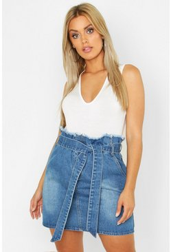 Womens Light blue Plus Paperbag Waist Denim Skirt