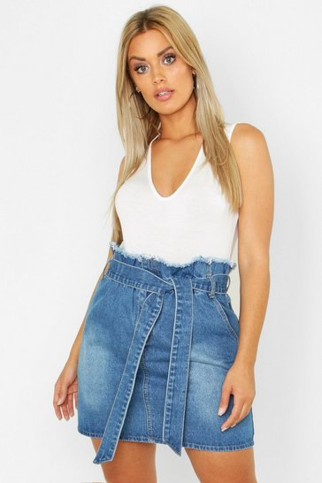 00bfc2c44e8d0 Plus Paperbag Waist Denim Skirt