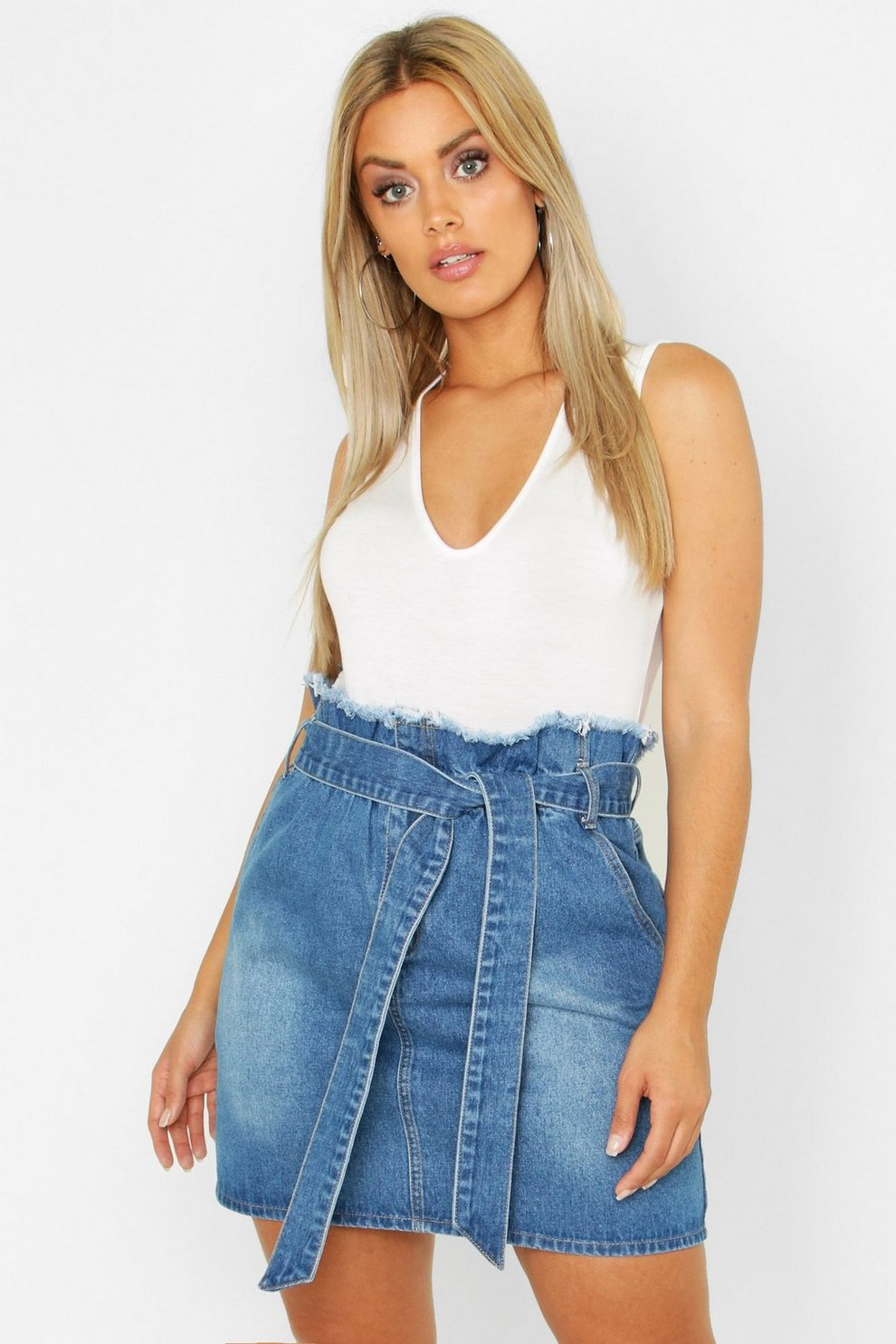 69afe1e07b Womens Light blue Plus Paperbag Waist Denim Skirt. Hover to zoom