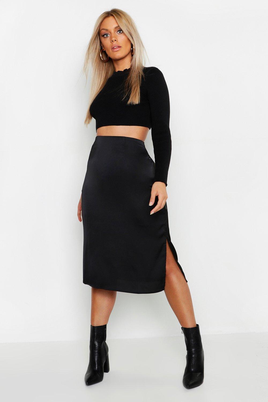Plus Satin Skirt