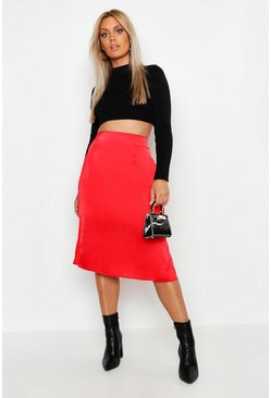 Womens Red Plus Satin Skirt