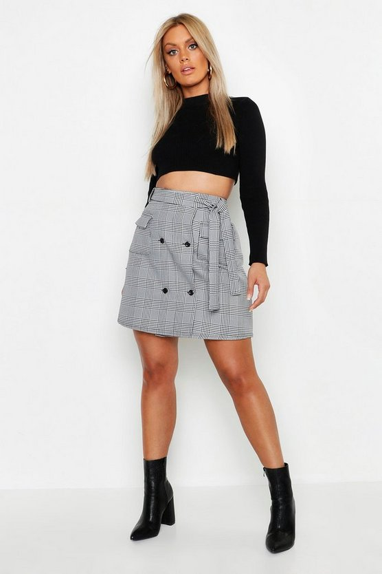 Womens Black Plus Check Button Through Skirt