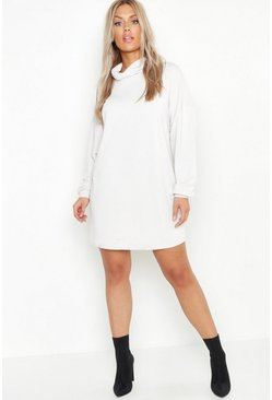 Womens Stone Plus Roll Neck Sweat Dress