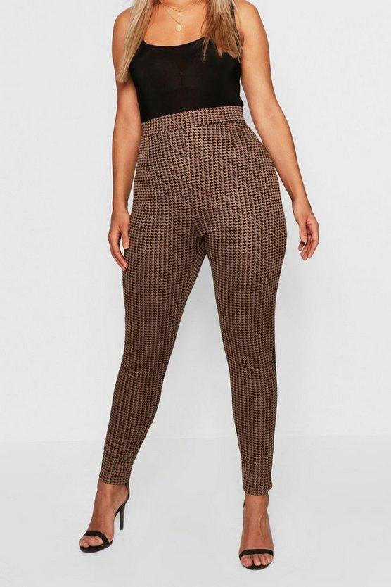 Womens Black Plus Dogtooth Check Legging