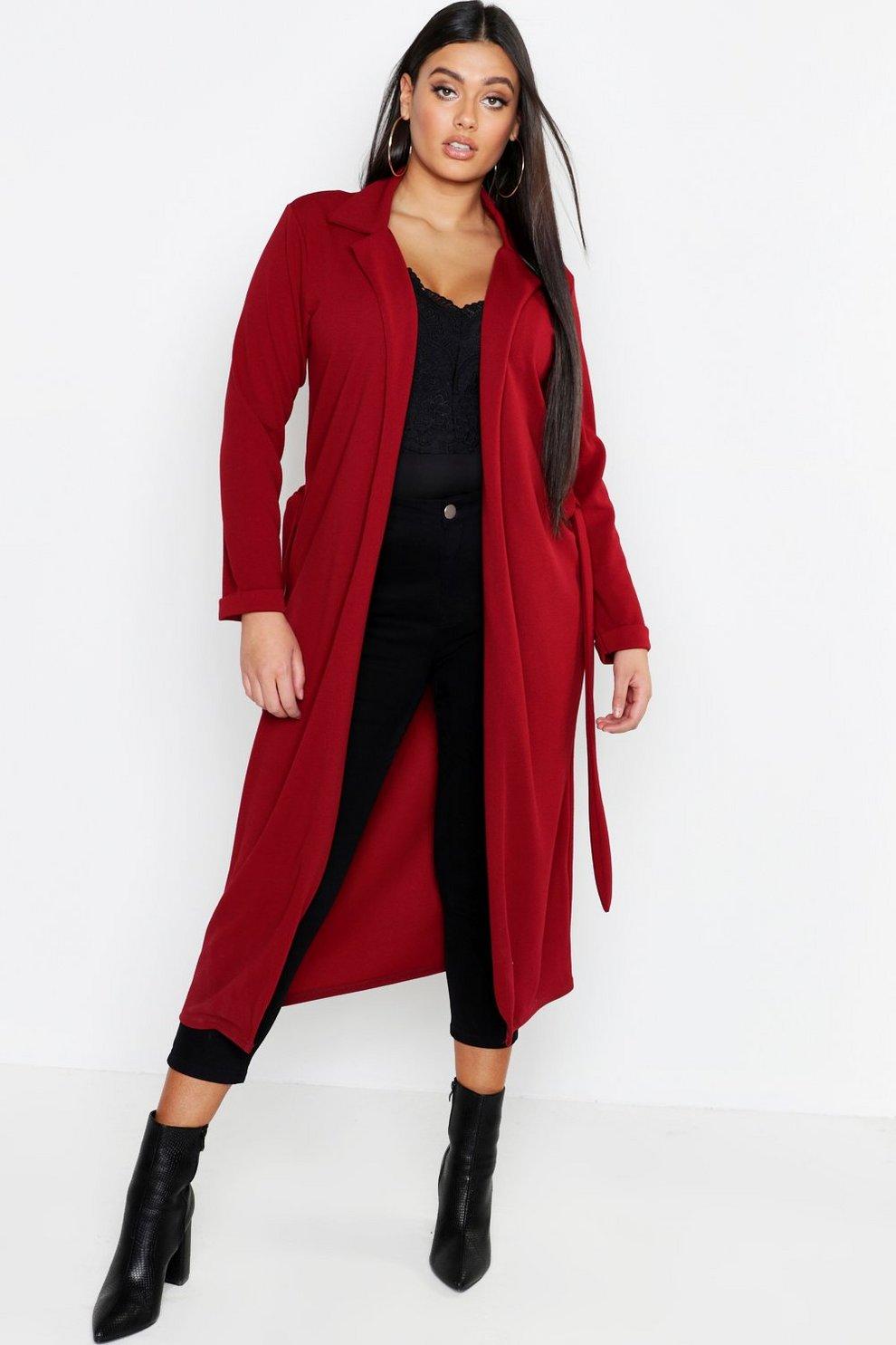 31648cc9a982d3 Long manteau ample crêpé à ceinture Plus | Boohoo