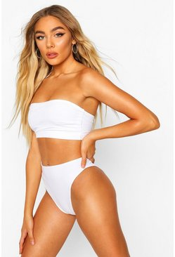 White Petite Mix & Match Ribbed Bandeau Top