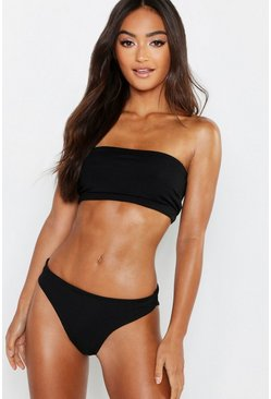 Black Petite Mix & Match Ribbed Fixed Brief