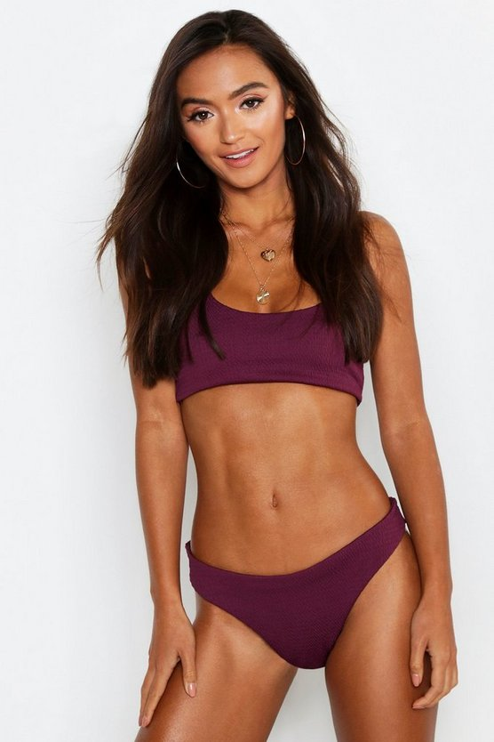 Womens Purple Petite Crinkle Crop High Leg Bikini