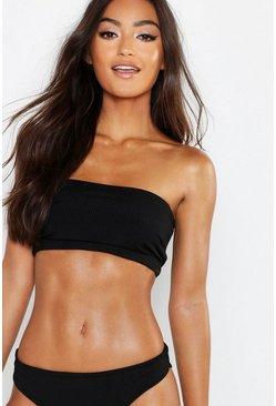 Black Petite Mix & Match Ribbed Bandeau