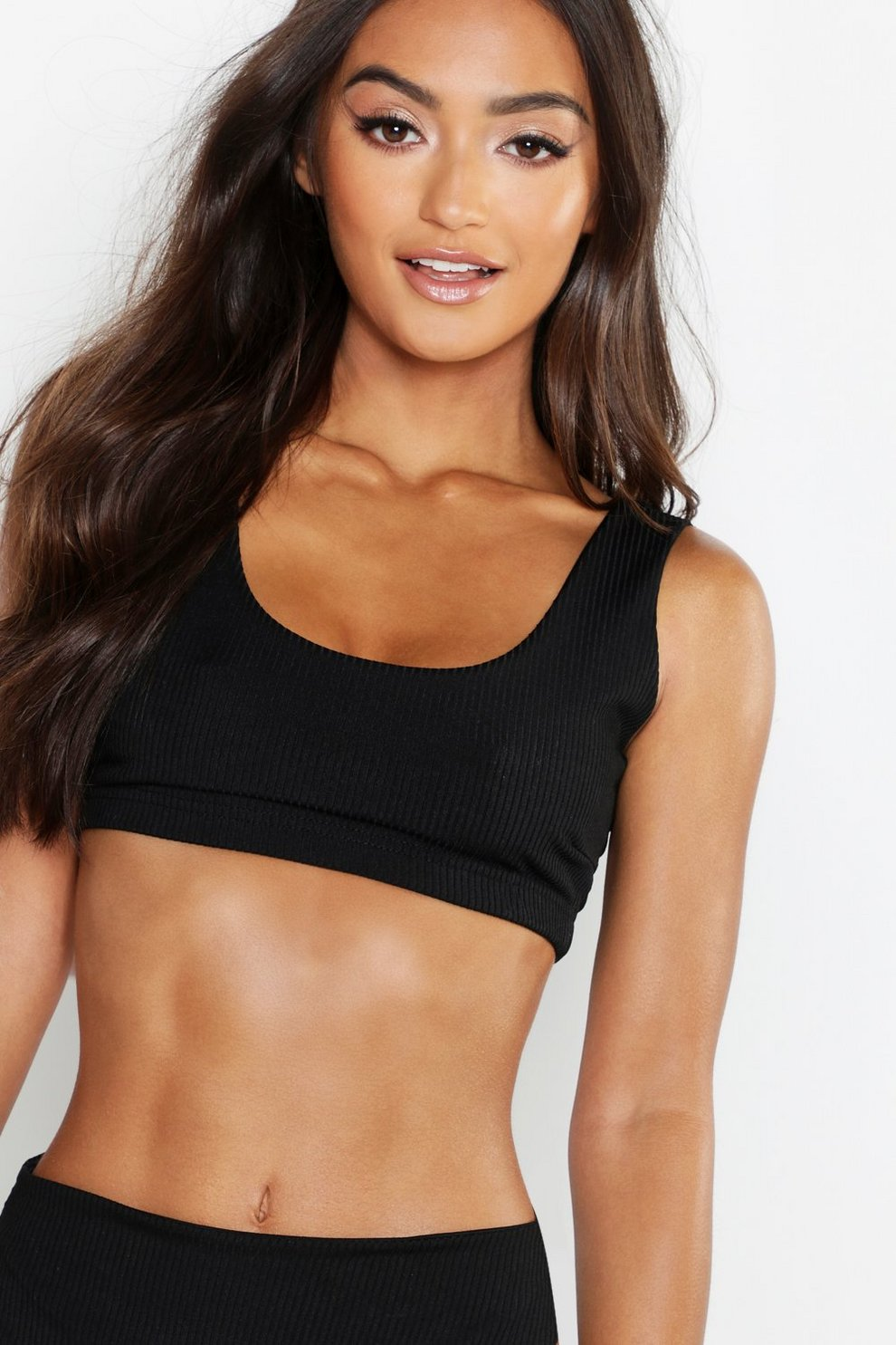 e5da163eb7 Petite Mix And Match Ribbed Crop Bikini Top | Boohoo