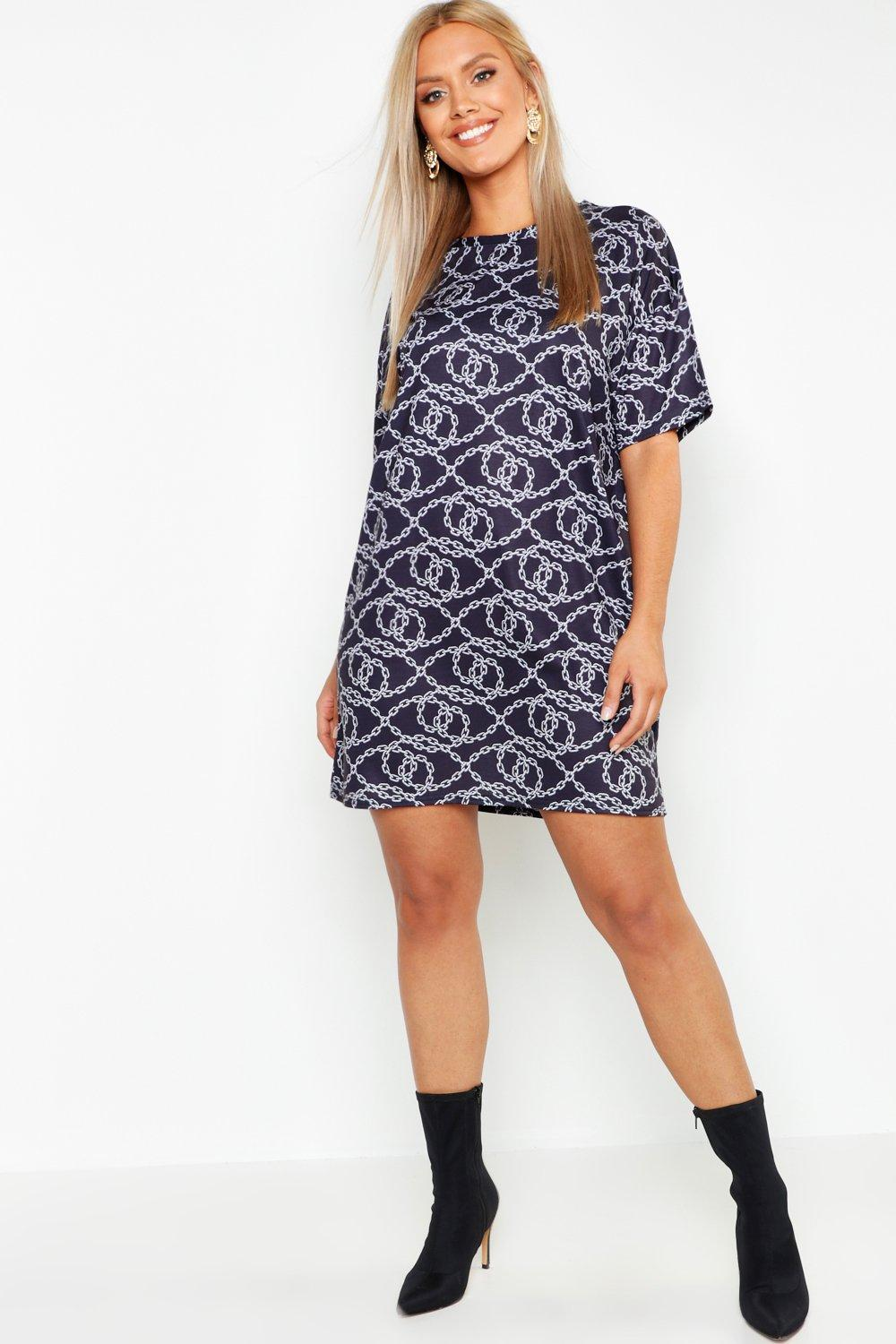 Plus Oversized Chain Print T-Shirt Dress