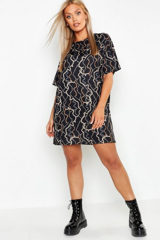 Black Plus Chain Print Oversized T-Shirt Dress