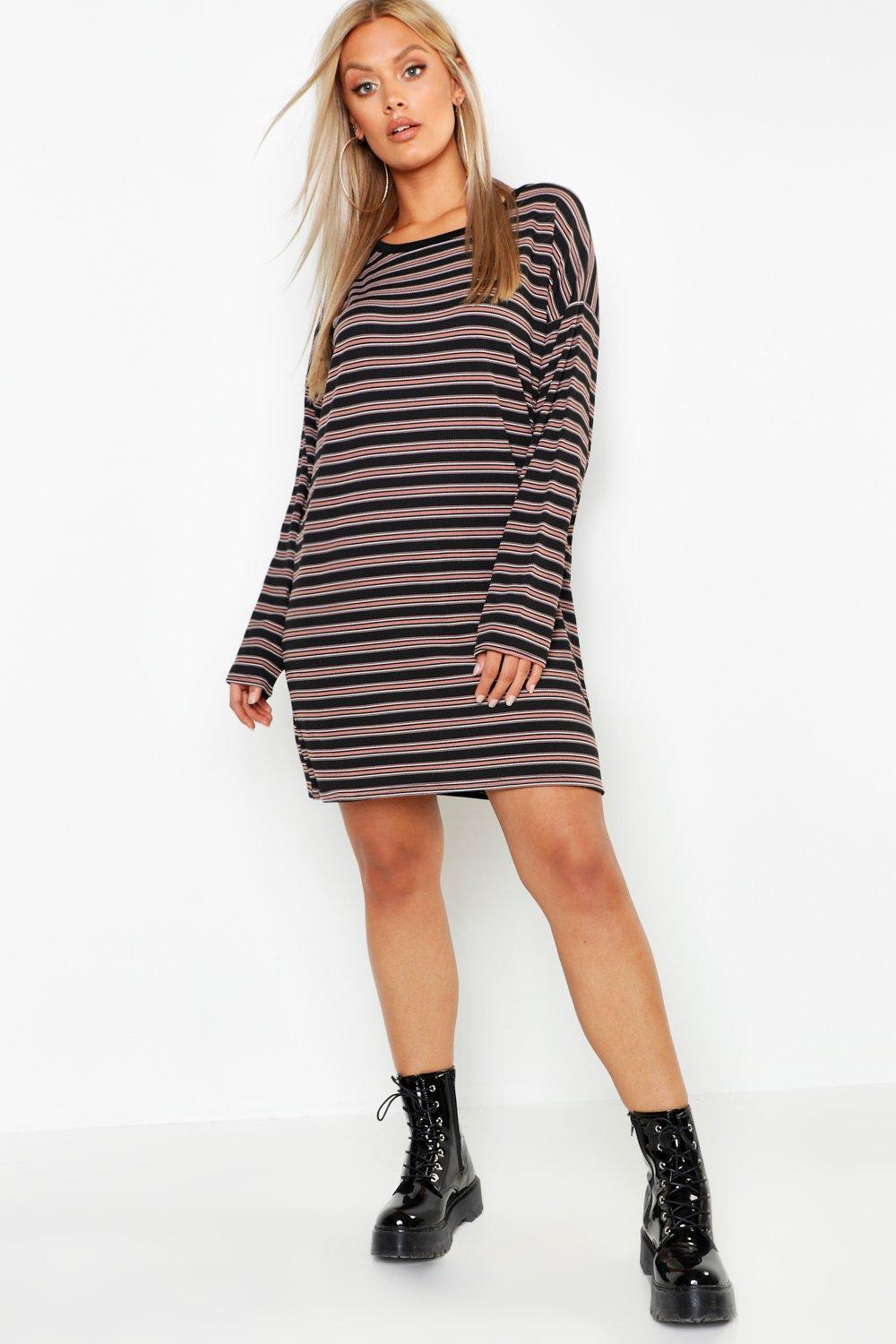 Plus Stripe Rib Long Sleeve Shift Dress