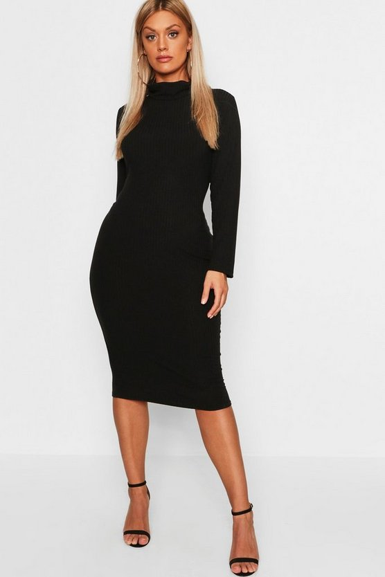 Womens Black Plus Roll Neck Soft Rib Midi Dress