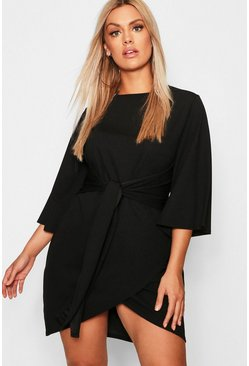 Womens Black Plus Kimono Sleeve Tie Waist Wrap Dress