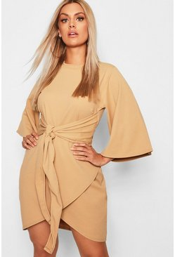 Womens Taupe Plus Kimono Sleeve Tie Waist Wrap Dress