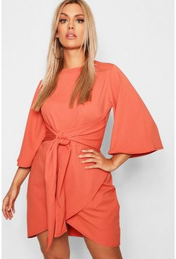 Womens Terracotta Plus Kimono Sleeve Tie Waist Wrap Dress