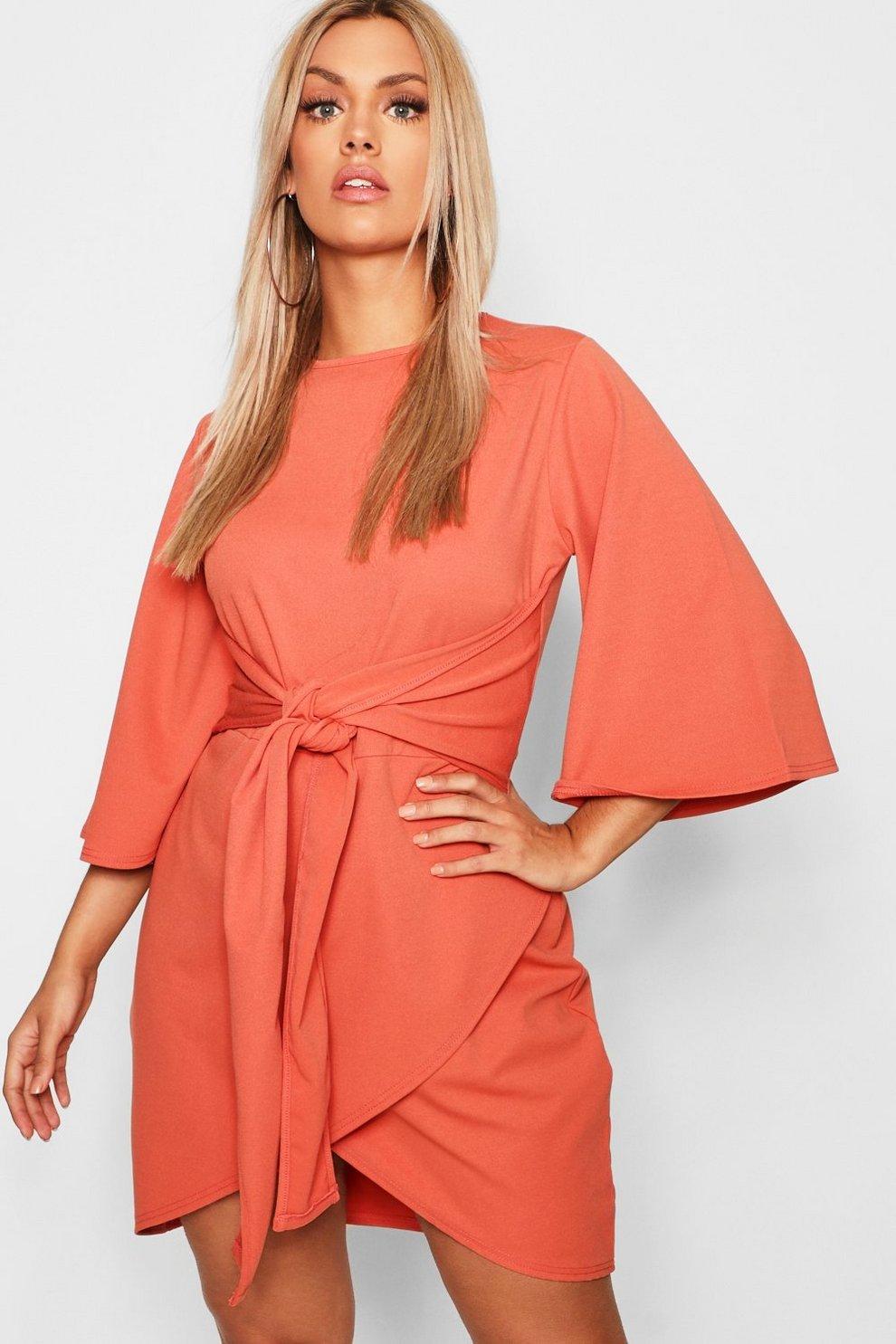 0920a15a88f7 Plus Kimono Sleeve Tie Waist Wrap Dress | Boohoo
