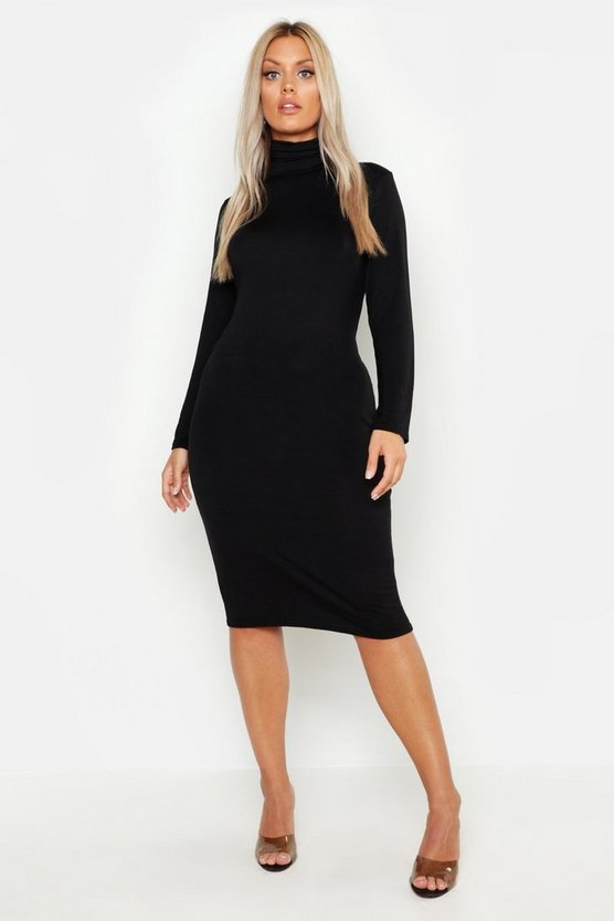 Plus Long Sleeve Roll Neck Midi Dress