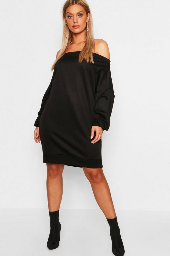 Womens Plus Off The Shoulder Sweat Dress