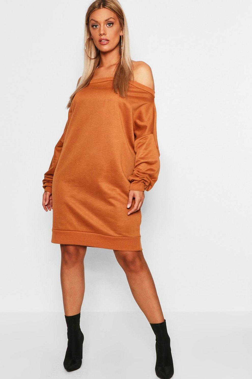 4573fb5e825 Womens Sand Plus Off The Shoulder Sweat Dress