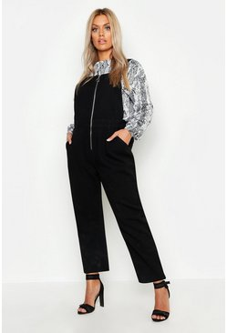Womens Black Plus Zip Through Overall