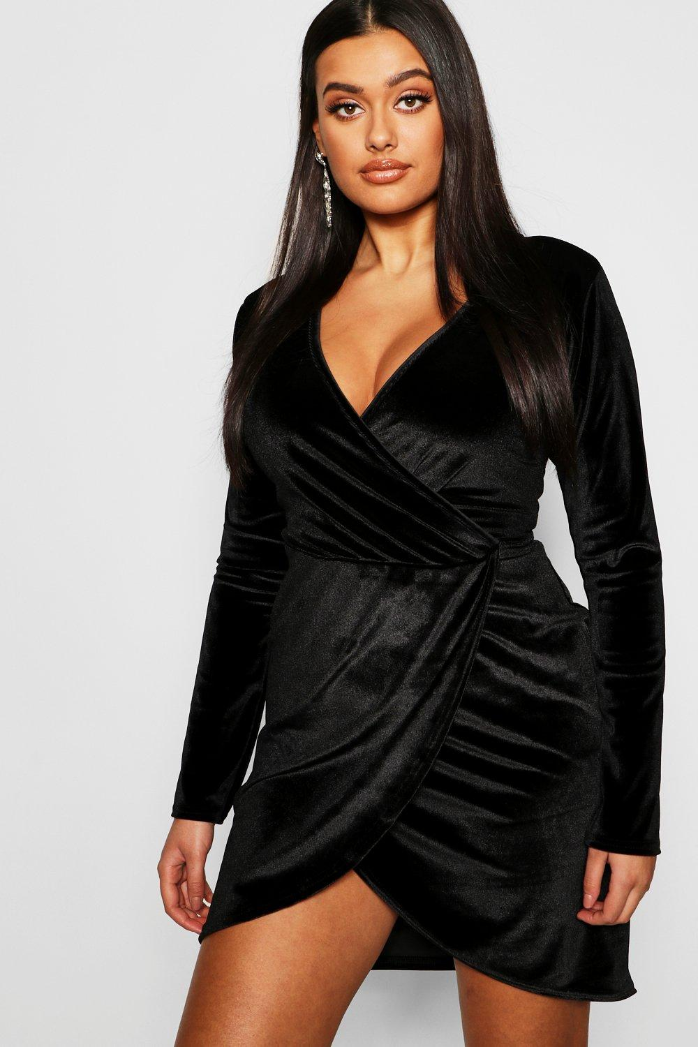38744e0342f Womens Black Plus Velvet Wrap Plunge Midi Dress. Hover to zoom