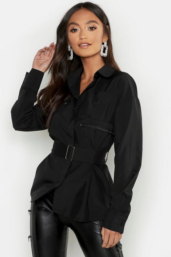 Womens Black Petite Utility Woven Belted Shacket