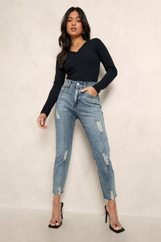 Petite Distressed Hem Straight Leg Jean