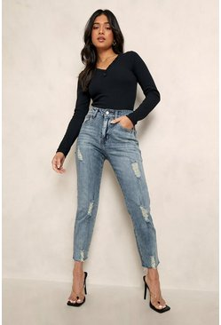 Light blue Petite Distressed Hem Straight Leg Jean