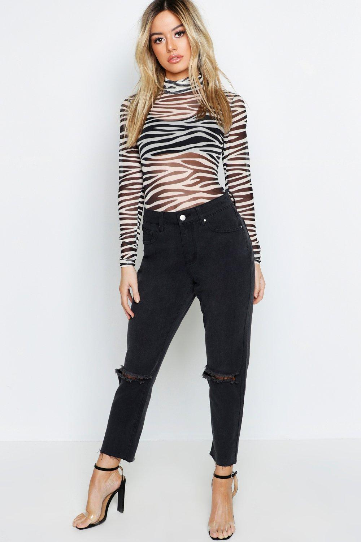 Petite Rip Knee Straight Leg Jean