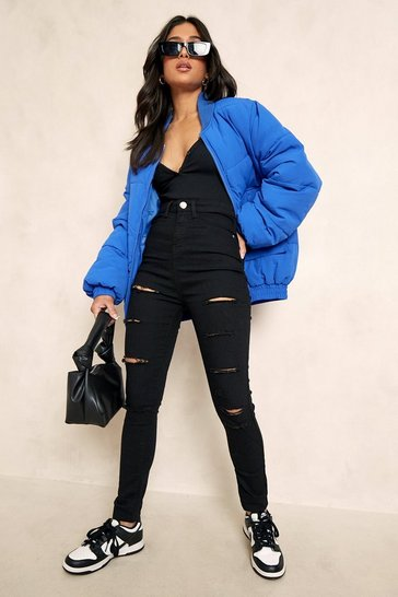 Womens Black Petite Slash Rip Jegging