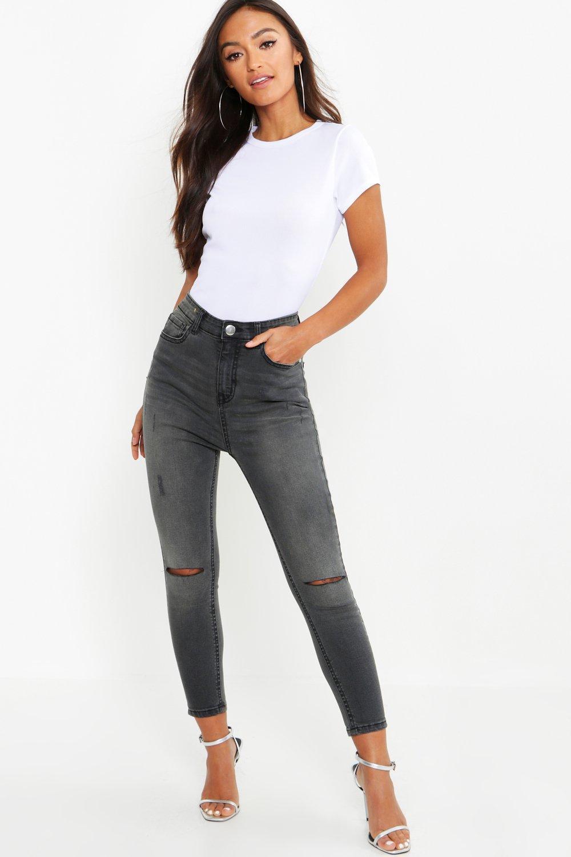 Petite Grey Wash Rip Knee Skinny Jean