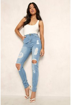 Womens Light blue Petite One Button Distressed High Rise Skinny Jean