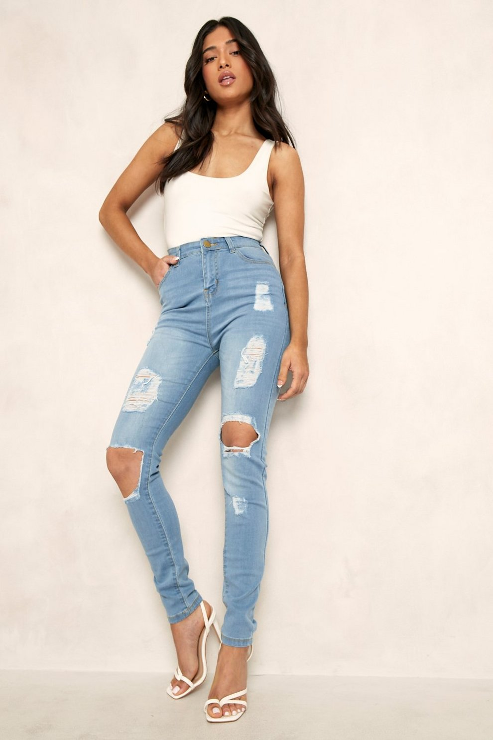 6db450eec8ca Petite One Button Distressed High Rise Skinny Jean | Boohoo