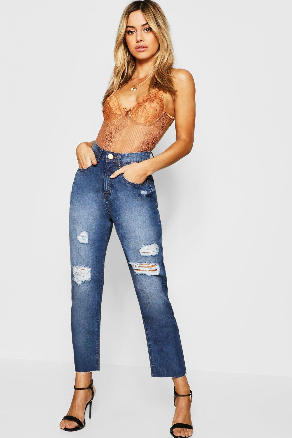 Petite Distressed Classic Mom Jean