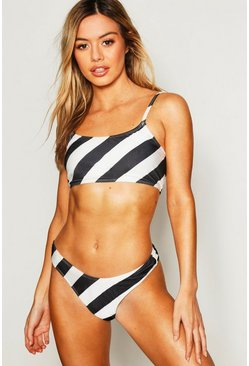 Womens Multi Petite Stripe High Leg Bikini