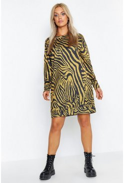 Womens Mustard Plus Zebra Oversized Sweat Dress