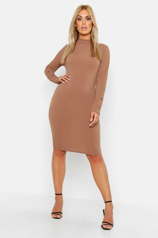 Womens Taupe Plus High Neck Rib Button Cuff Midi Dress