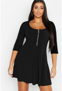 Black Plus Soft Rib Zip Front Skater Dress