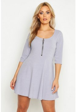 Grey Plus Soft Rib Zip Front Skater Dress