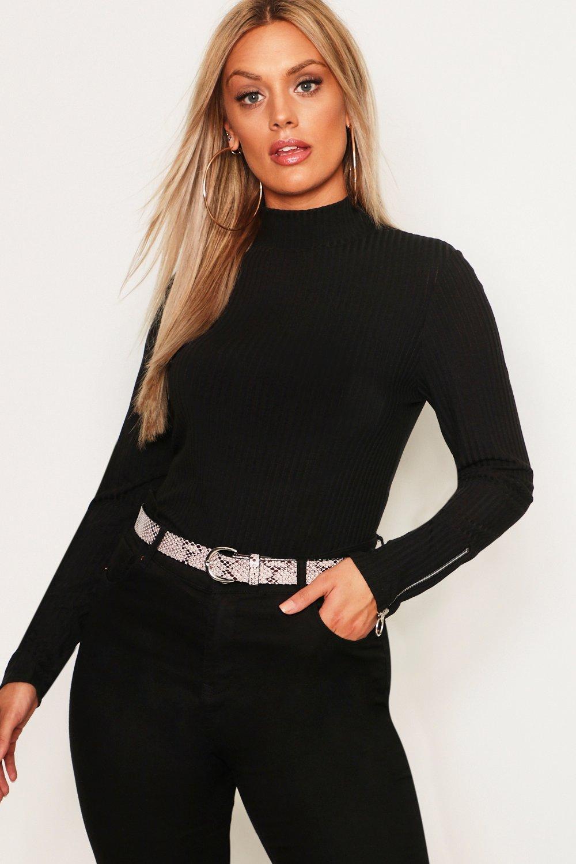 Plus High Neck Soft Rib Sweater Zip Cuff