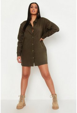 Womens Khaki Plus Denim Oversized Shirt Dress