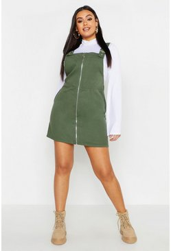 Womens Khaki Plus Buckle Detail Zip Through Pinafore