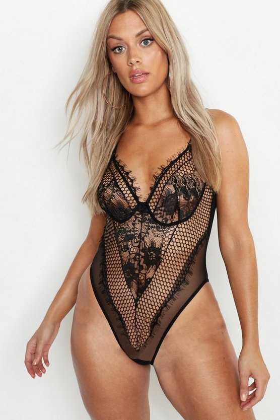 Black Plus Lace Panelled Bodysuit