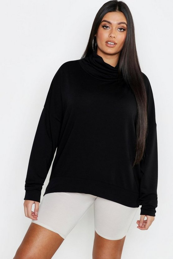 Womens Black Plus Roll Neck Oversized Sweat