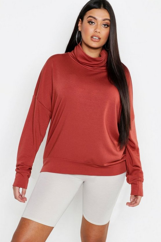 Womens Terracotta Plus Roll Neck Oversized Sweat