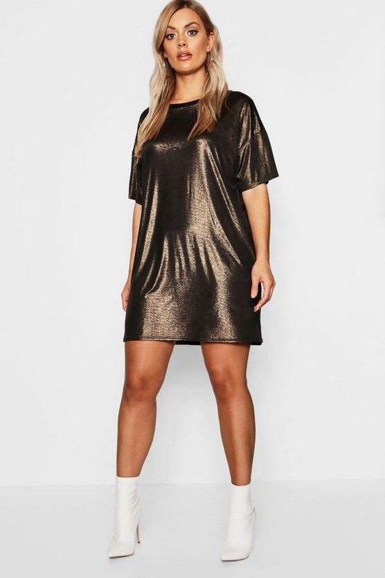 Plus Übergroßes T-Shirt-Kleid in Metallic-Optik, Gold, Damen