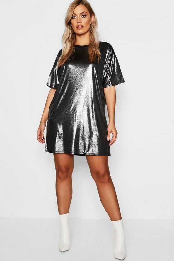 Womens Silver Plus Metallic Oversized T-Shirt Dress