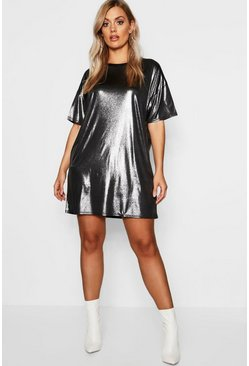 Silver Plus Metallic Oversized T-Shirt Dress